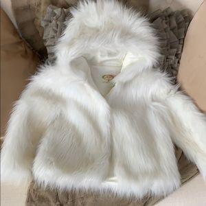 Joyfolie Alexa girls white/cream faux fur jacket